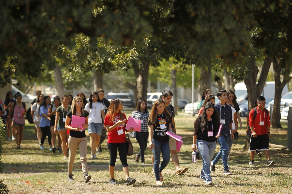 Group of Freshman students on Fresno State campus